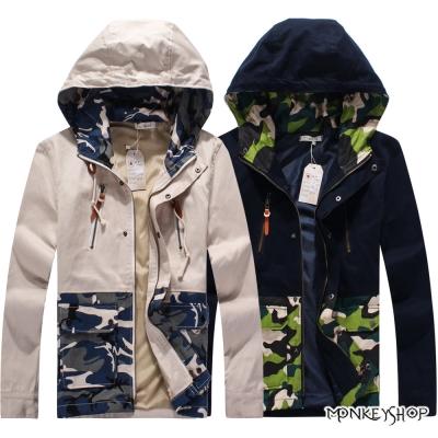小猴子的賣場 韓版個性接色軍裝風迷彩圖騰連帽外套-2色