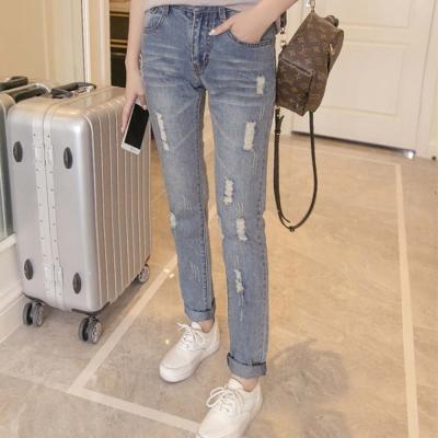 抓破刷色造型修身牛仔褲-淺藍-91-KOKO
