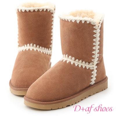 D+AF 好感滿分.毛線針織2way真皮中筒雪靴*棕