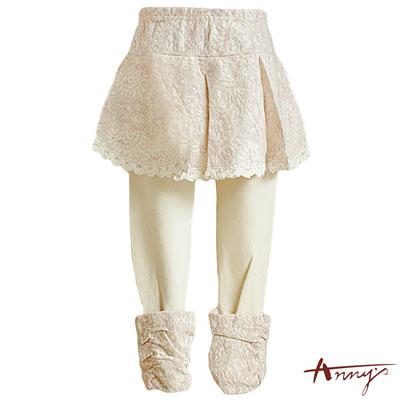 Annys甜美滿滿蕾絲棉質踩腳褲裙~3459粉