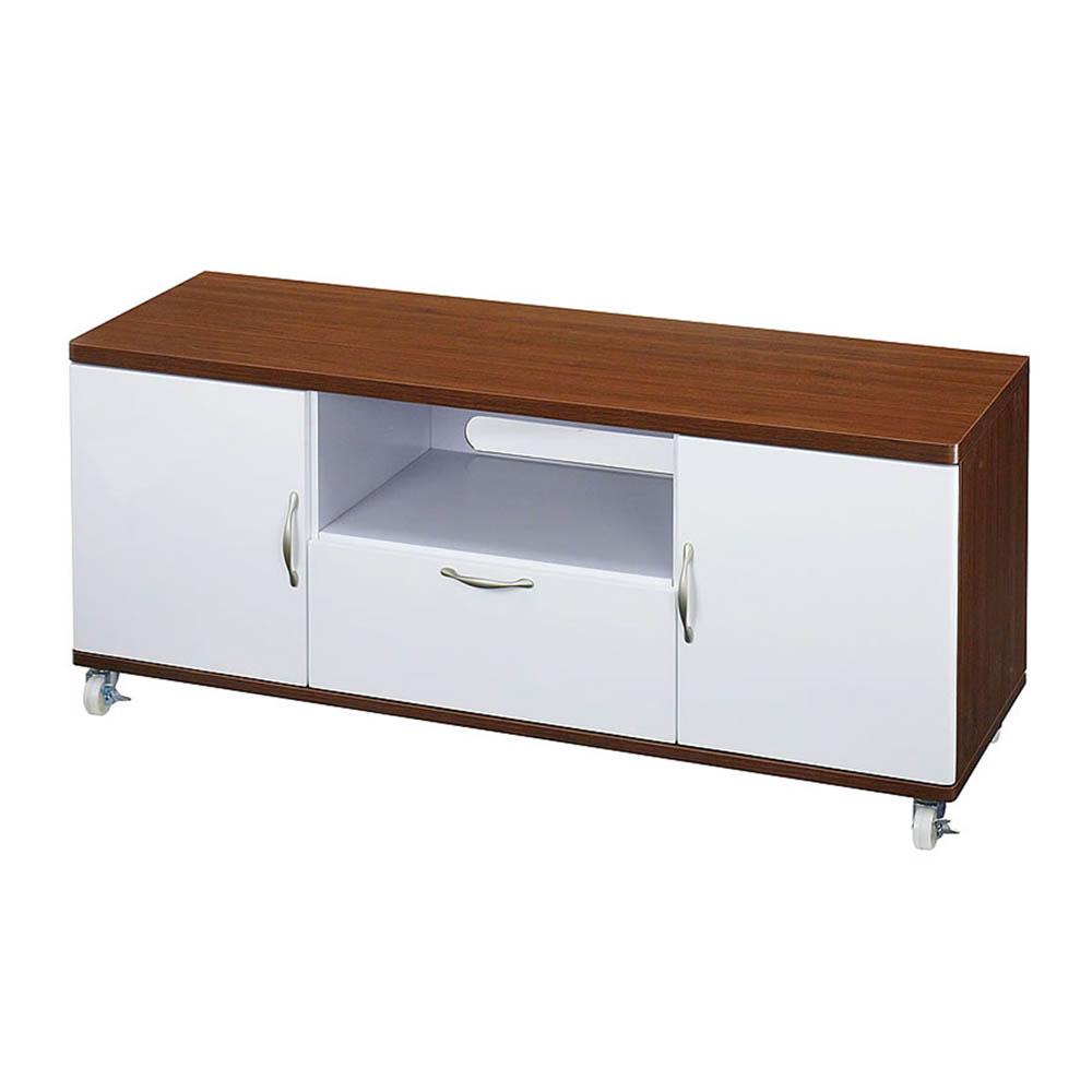 晶面圓角-胡桃木色 R角120W單抽雙木門矮櫃