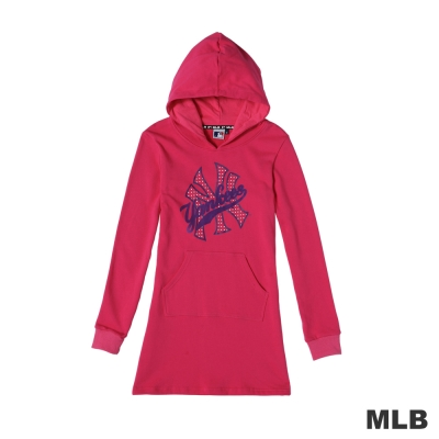 MLB-LOGO 洋基經典流行印花長版連帽T恤-桃紅(女)
