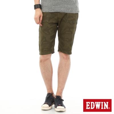 EDWIN 迦績褲JERSEYS迷彩短褲-男-橄欖綠
