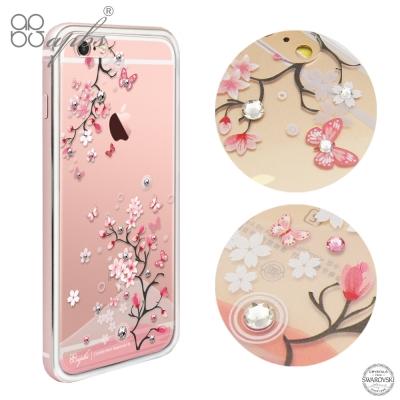 apbs iPhone6s/6 PLUS 施華洛世奇彩鑽金屬框手機殼-玫瑰金日本...