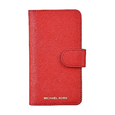 MK MICHAEL KORS經典金字LOGO I Phone7/8磁釦手機保護套(亮紅)