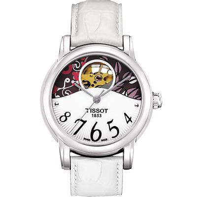 TISSOT Lady Heart 心跳鏤空機械腕錶-白/35mm