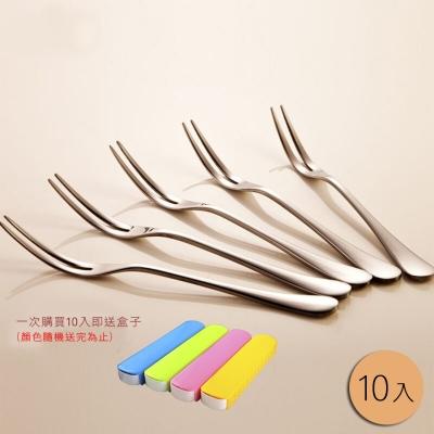PUSH! 餐具不鏽鋼叉子蛋糕叉水果沙拉叉甜品叉水果籤10入組套裝(送精美盒)E33