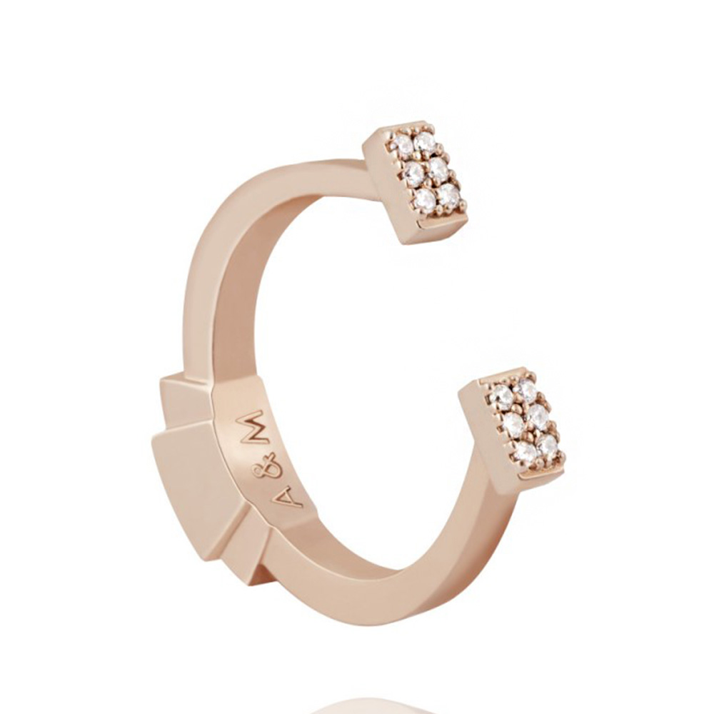 ASTRID&MIYU英國潮流品牌 馬蹄水鑽可調式戒指 玫瑰金