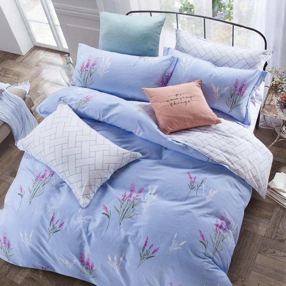Grace Life 邂逅-藍 精梳純棉加大涼被床包四件組