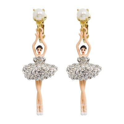Les Nereides 優雅芭蕾舞女孩系列 珍珠亮鑽芭蕾舞者耳環 耳夾式