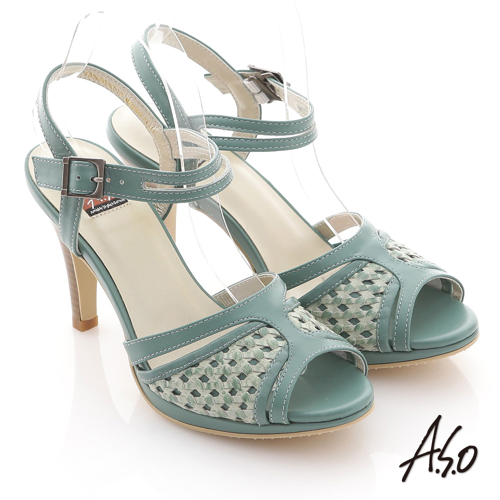 A.S.O 異域拼盤 渡假感編織高跟涼鞋 綠