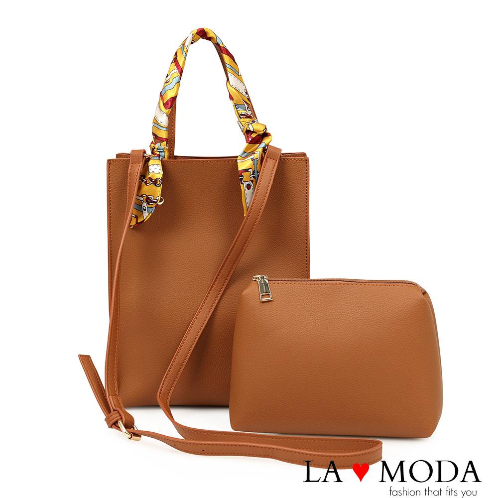 La Moda 獨特優雅Look~緞帶把手柔軟經典子母包托特包(棕)