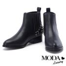短靴 MODA Luxury 個性拼接鉚釘牛皮尖頭粗跟短靴-黑