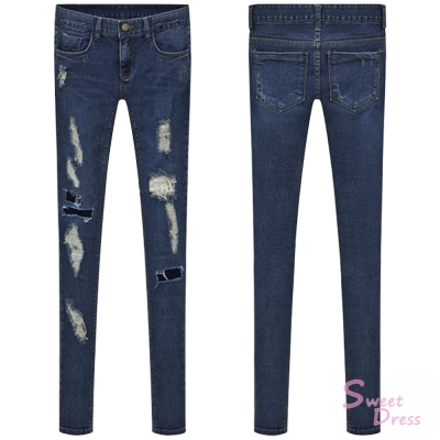 破洞設計藍色牛仔褲Sweet-Dress