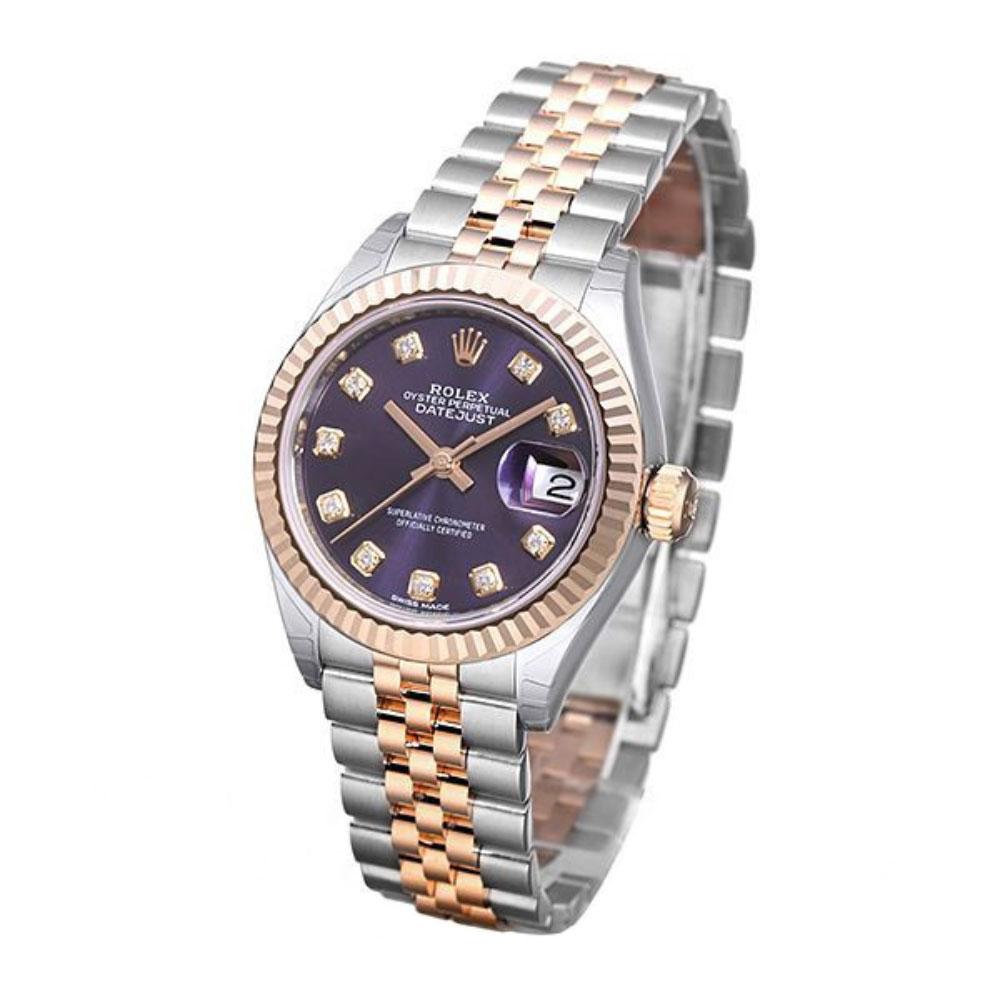ROLEX 勞力士Datejust 279171蠔式半金10顆鑽日誌型腕錶-紫/28mm