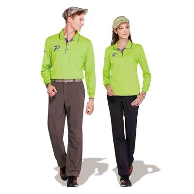 【Londa Polo】吸濕排汗中性版長袖POLO衫(P77661)亮綠色