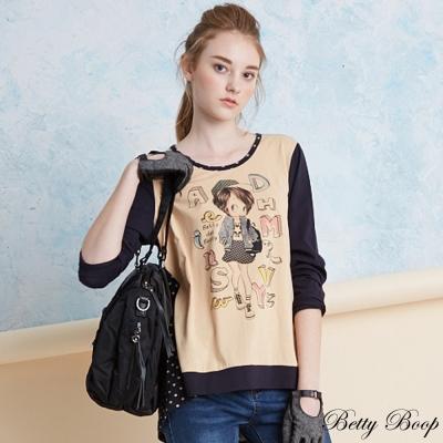 Betty Boop 彩圖拼接點點前短後長彈性上衣(共二色)