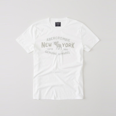 A-F-經典麋鹿文字設計短袖T恤-白色-AF-Abercrombie