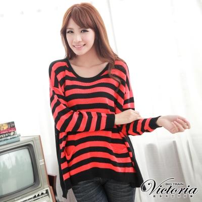 Victoria 寬版顯瘦條紋針織衫-女-紅色