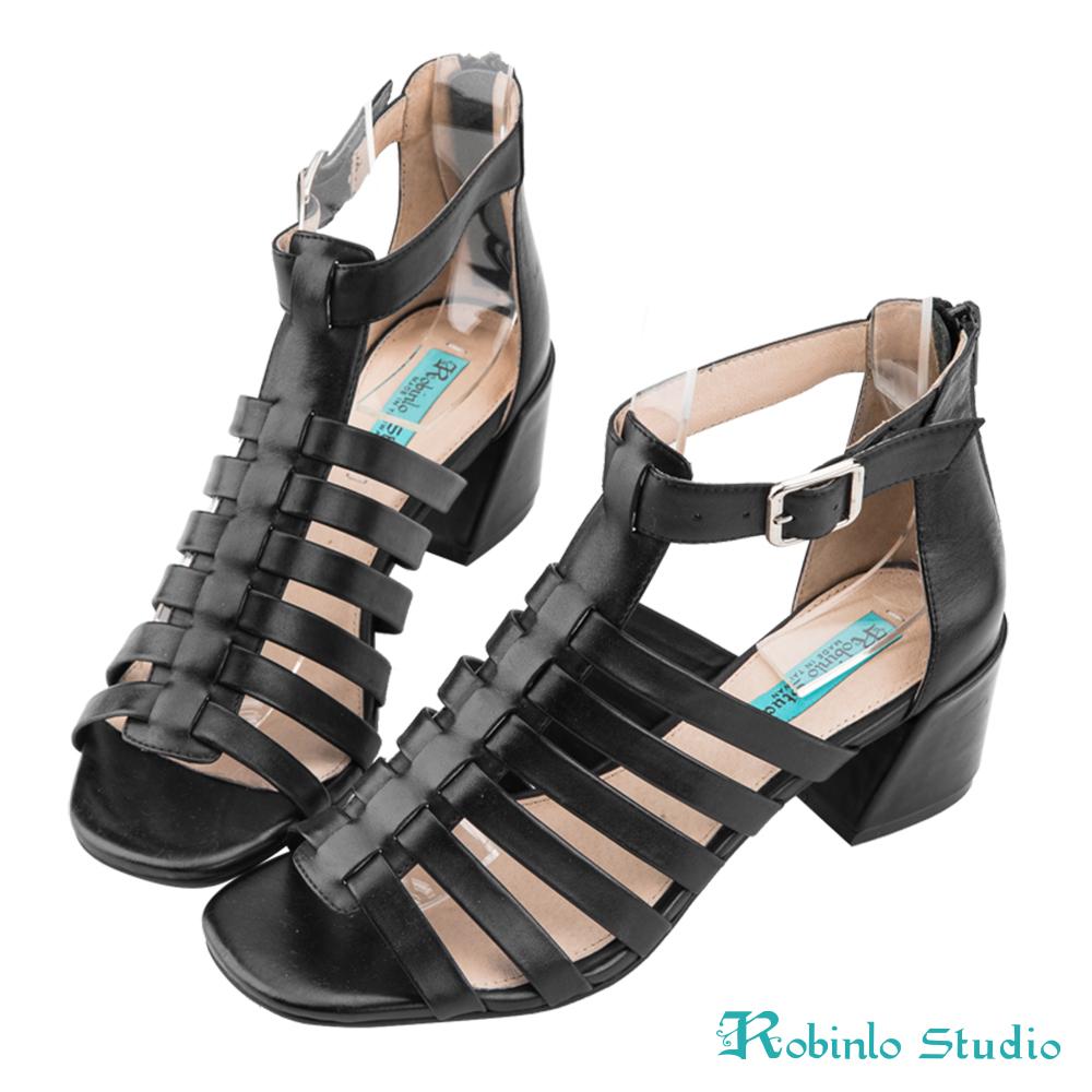 Robinlo Studio 性感羅馬造型打蠟牛皮粗跟涼鞋 黑色