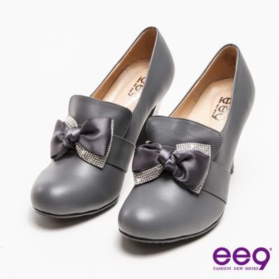 ee9心滿益足-手工真皮璀璨水鑽蝴蝶結高跟鞋-灰色