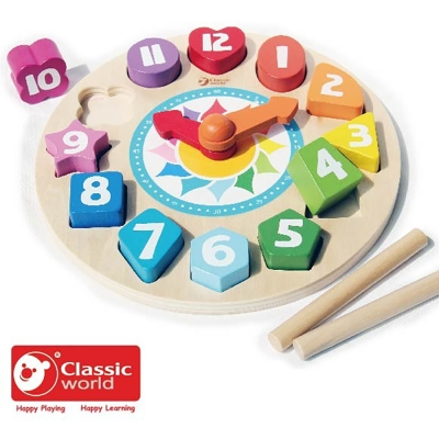 Classic World 德國經典木玩 時鐘立體拼板