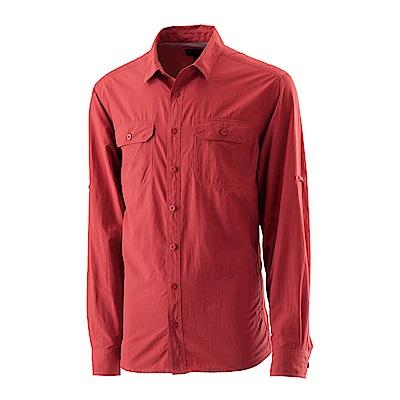 【Wildland 荒野】男可調節抗UV排汗襯衫紅