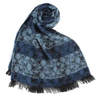 Vivienne Westwood 滿版星球橫紋雙色羊毛圍巾-藍色