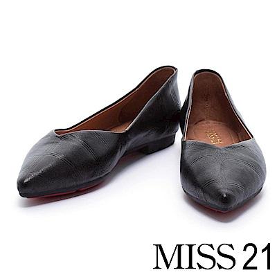 平底鞋 MISS 21 質感鱷魚壓紋羊皮尖頭平底鞋-黑