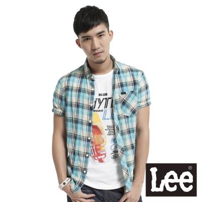 Lee 短袖襯衫格紋-男款(藍綠) LL120306B2C
