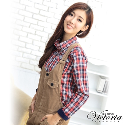 Victoria 格紋天絲棉襯衫-女-紅