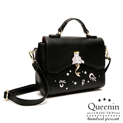 DF Queenin日韓 - 童話美人魚圖案皮質感側背包