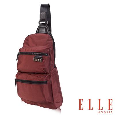 ELLE HOMME 時尚火紅IPAD側背包搭配皮革防潑水尼龍 精品設計款-橘紅
