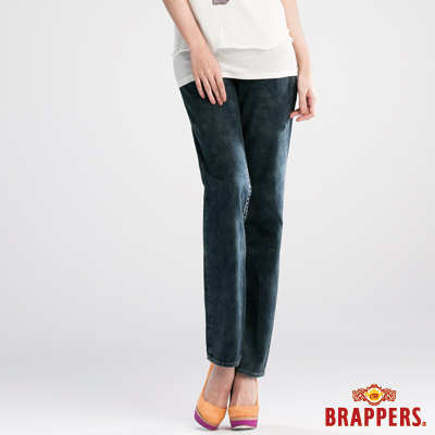 BRAPPERS 女款 Boy Friend Jeans系列-3D反摺直筒褲-深藍雪花