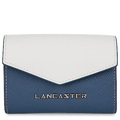 LANCASTER Paris-SAFFIANO 拼色防刮皮革零錢包
