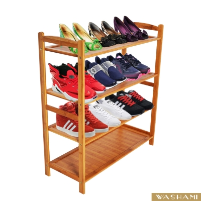 WASHAMl-小資族楠竹四層鞋架-置物架(四層)(63x25.5x70cm)