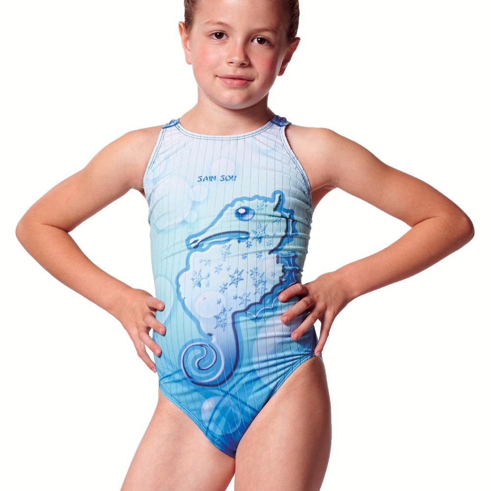 泳裝 連身式 卡通印染 專業女童泳裝 聖手牌