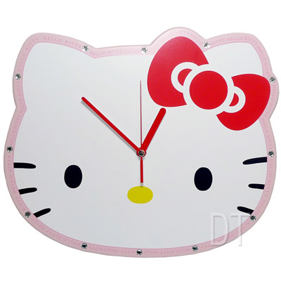 Hello Kitty亮鑽木質超靜音掛鐘 JM-W556KT