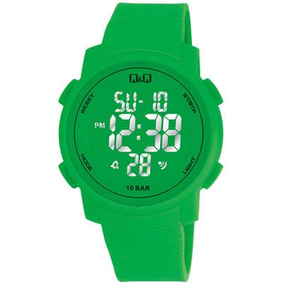 Q&Q 多色酷炫潛水膠帶風功能電子錶-綠/44mm