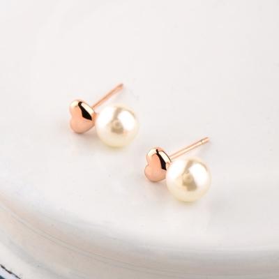 微醺禮物 耳環 人造珍珠 合金鍍K金 小愛心珍珠 小巧別緻款 耳環