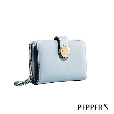 PEPPER`S  Farah 牛皮掀蓋長夾 - 冰晶藍