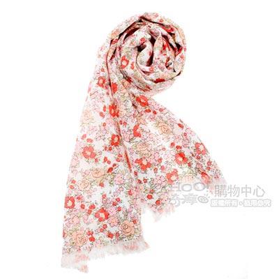 renoma paris 玫瑰花園抗UV透氣薄圍巾-橘紅