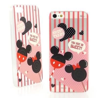 Disney iPhone 5/5S / SE 彩繪可愛透明手機殼-米奇米妮/棒...