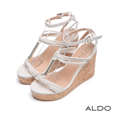 ALDO-羅馬假期原色繫帶軟木塞楔型涼鞋-冰晶白色