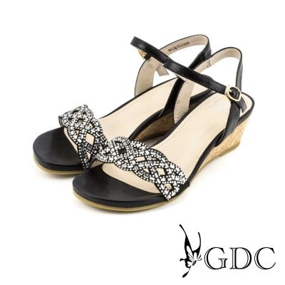 GDC-水鑽交叉鏤空軟木跟楔型厚底一字涼拖鞋-黑色