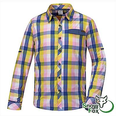【SNOW FOX 雪狐】男款夏日防曬透氣快乾長短袖格子襯衫AS-81505粉黃格