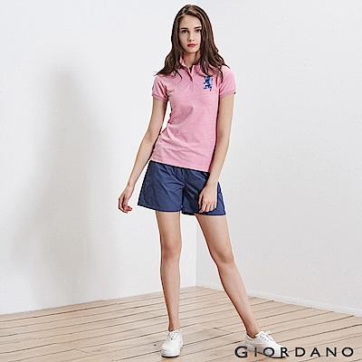 GIORDANO 女裝純棉素色抽繩卡其休閒短褲-61 靛槐藍