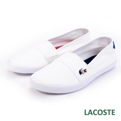LACOSTE 女用帆布休閒鞋/懶人鞋-白色