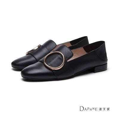 達芙妮DAPHNE-平底鞋-圓環寬帶踩腳兩用懶人鞋-黑