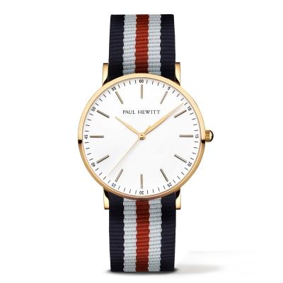 PAUL HEWITT Gold Line 深藍紅白尼龍錶帶 金色錶框/38mm